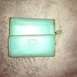 lodis teal wallet brown stitching retro looking